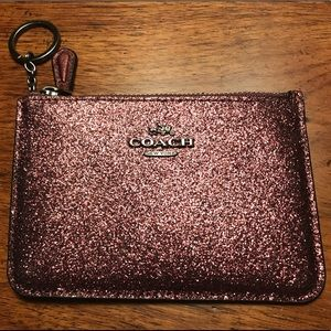 COACH KEY POUCH WITH GUSSET METALIC CHERRY GLITTER